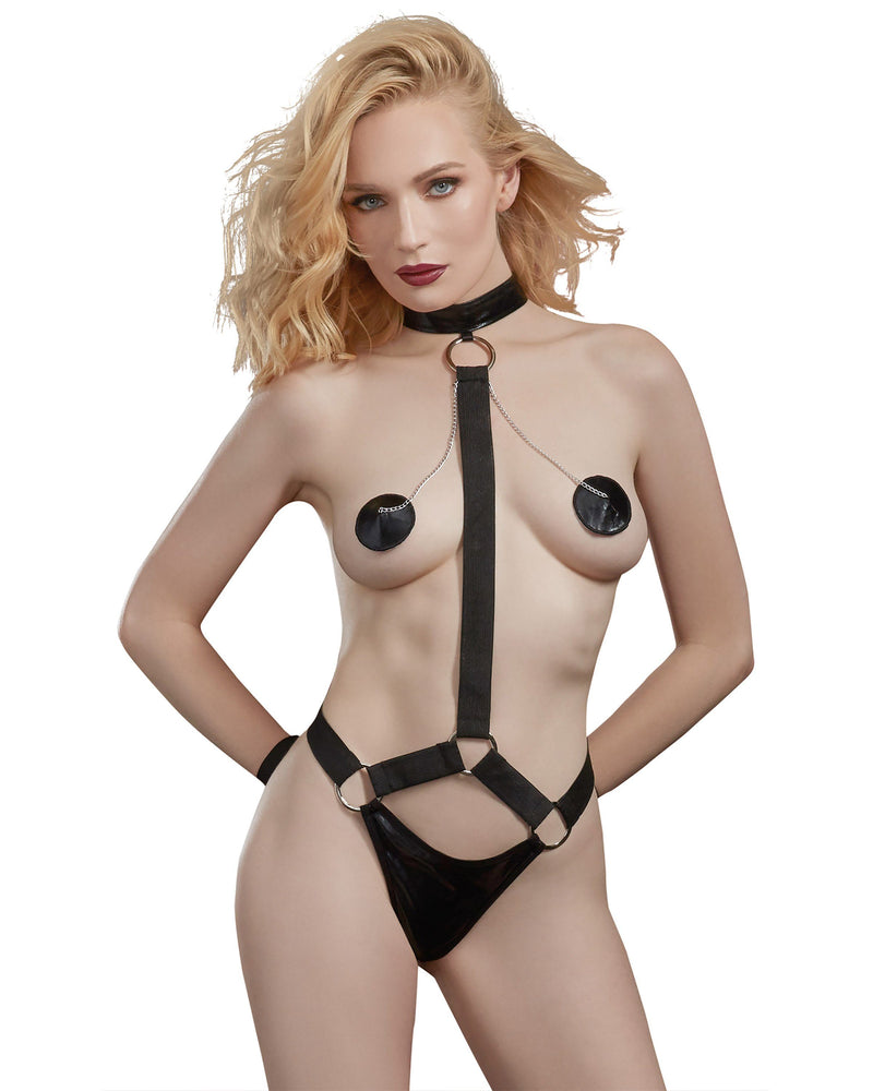 Leather-Look Knit and Elastic Collared Harness Teddy Fetish Dreamgirl International