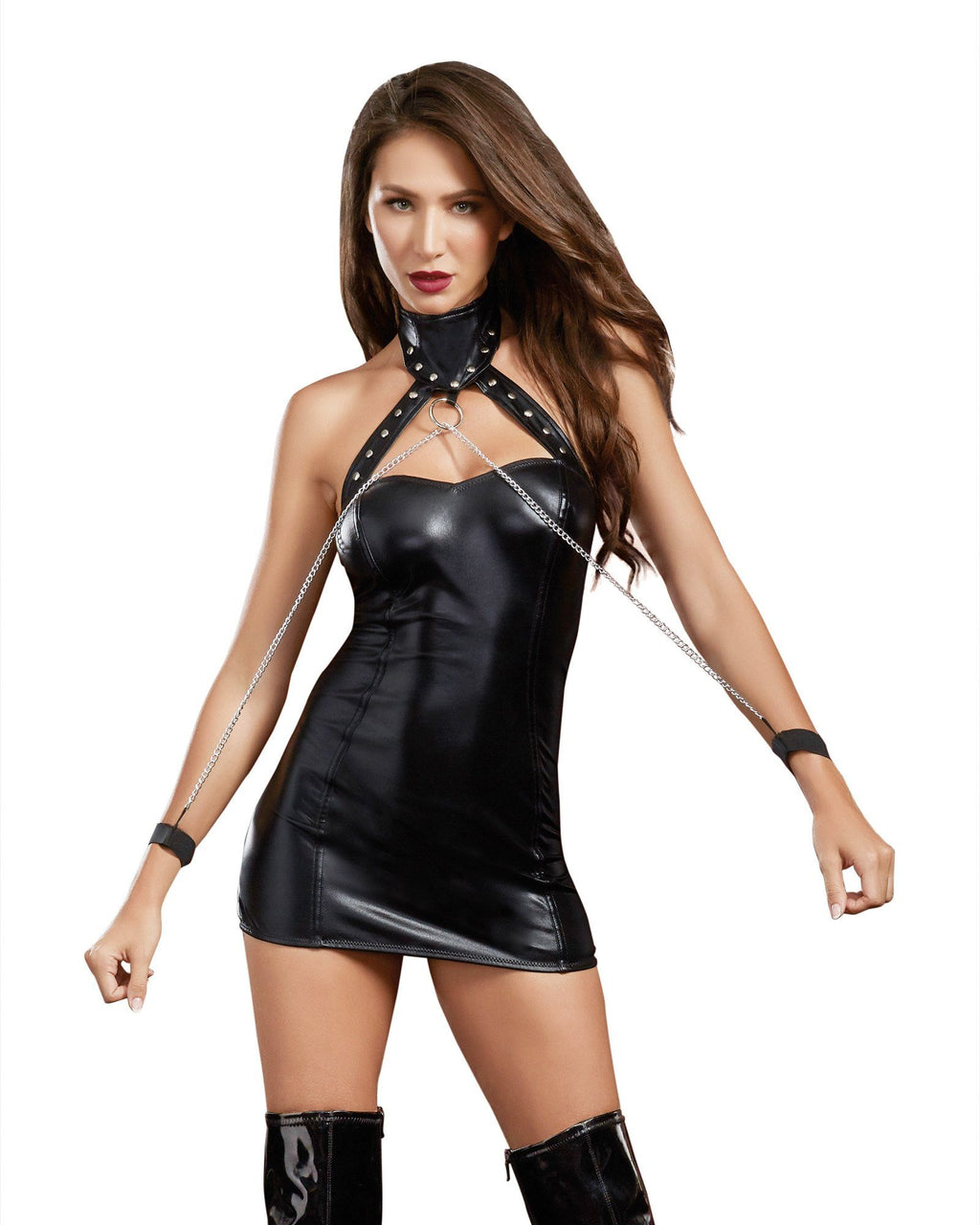 Leather-Look Knit Collared Chemise with Chain Restraints Fetish Dreamgirl International