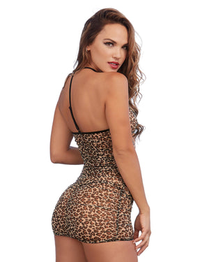Leopard Print Chemise with Shirring Details Chemise Dreamgirl International