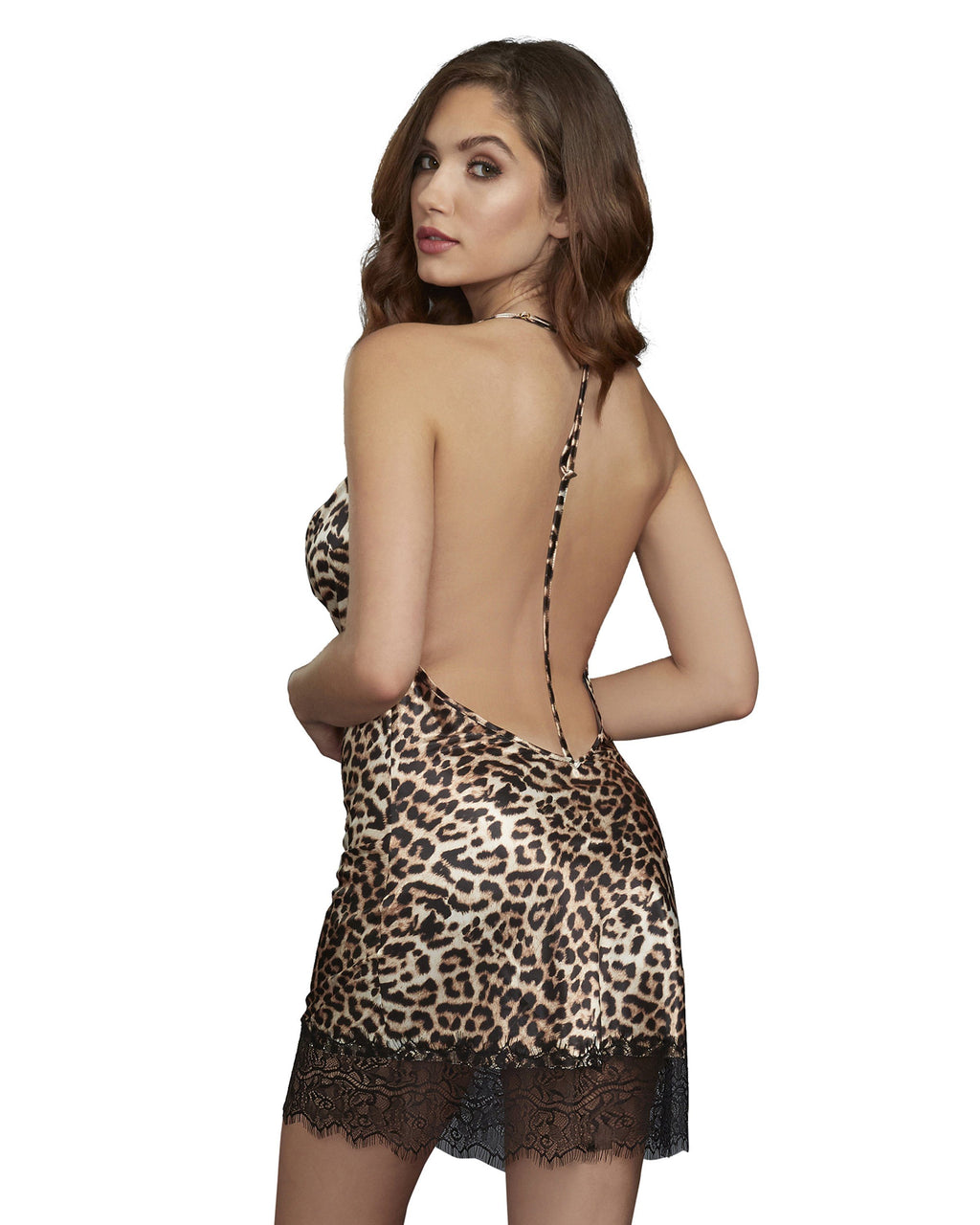 Leopard Print Silky Satin Bias-Cut Cowl Neck Chemise Chemise Dreamgirl International