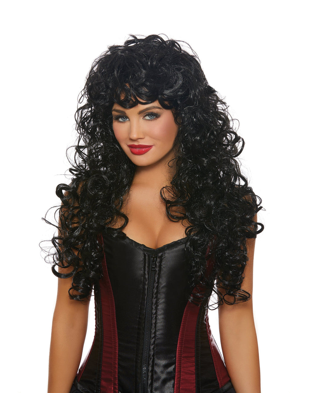 Long Big Curly Wig Wig Dreamgirl Costume Adjustable Black