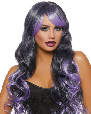 Long Wavy Ombré Layered Wig Wig Dreamgirl Costume Adjustable Black / Lavender