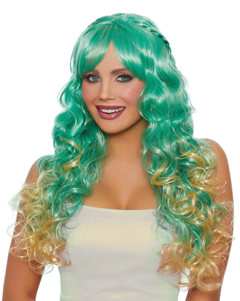 Long Wavy Ombré Wig with Halo Braids Wig Dreamgirl Costume