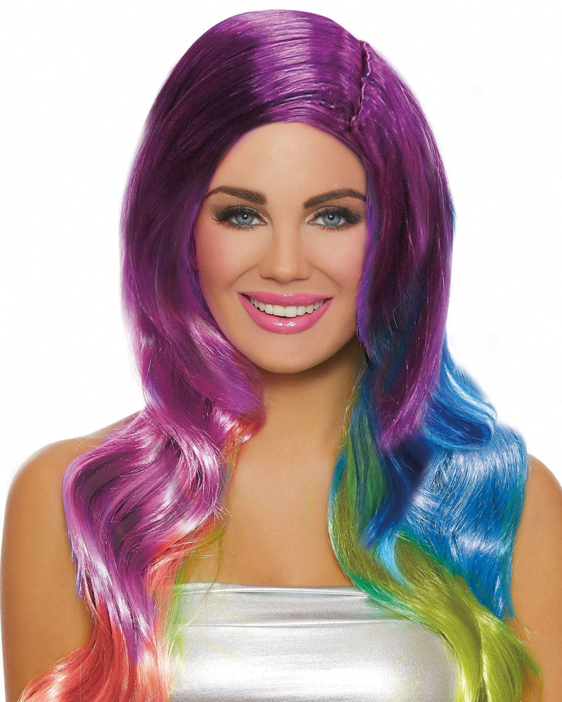 Long Wavy Rainbow Ombré Wig Wig Dreamgirl Costume