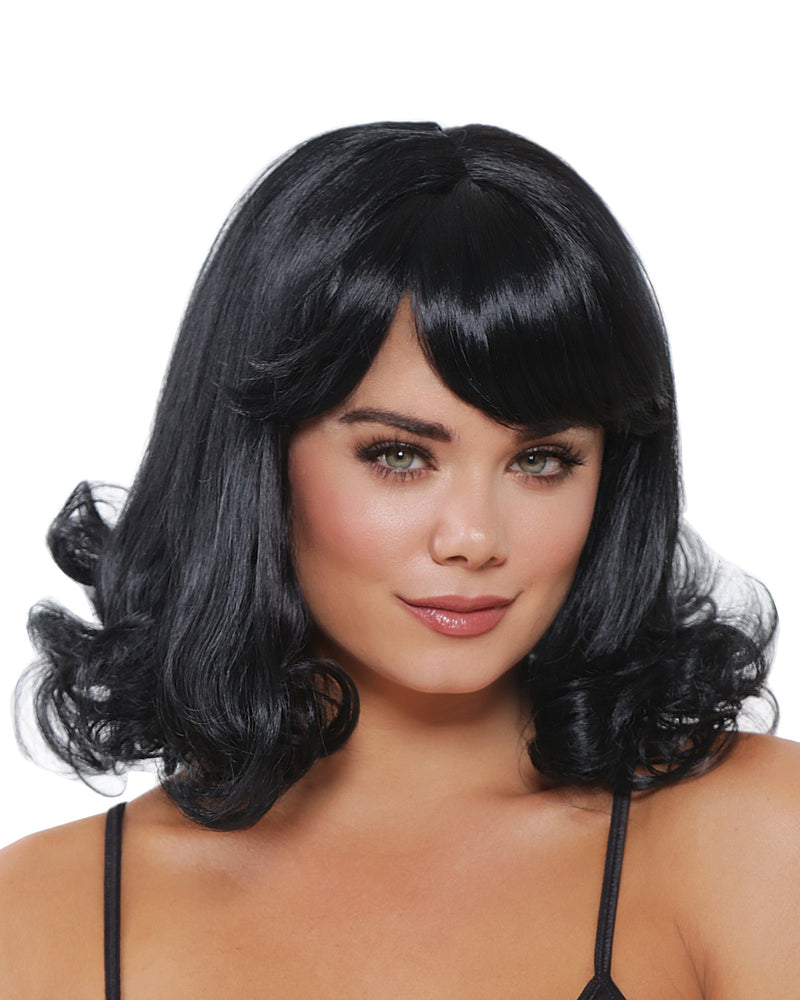 Mid-Length Curly Wig Wig Dreamgirl Costume Adjustable Black