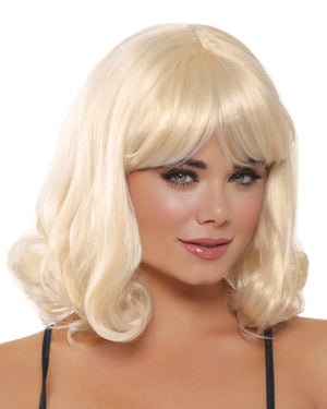 Mid-Length Curly Wig Wig Dreamgirl Costume Adjustable Blonde