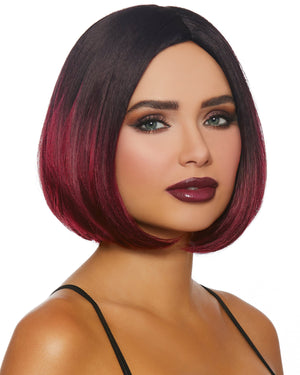 Mid-Length Ombré Bob Wig Wig Dreamgirl Costume Adjustable Black / Burgundy