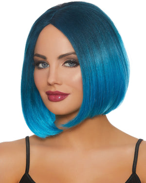 Mid-Length Ombré Bob Wig Wig Dreamgirl Costume Adjustable Steel Blue / Bright Blue