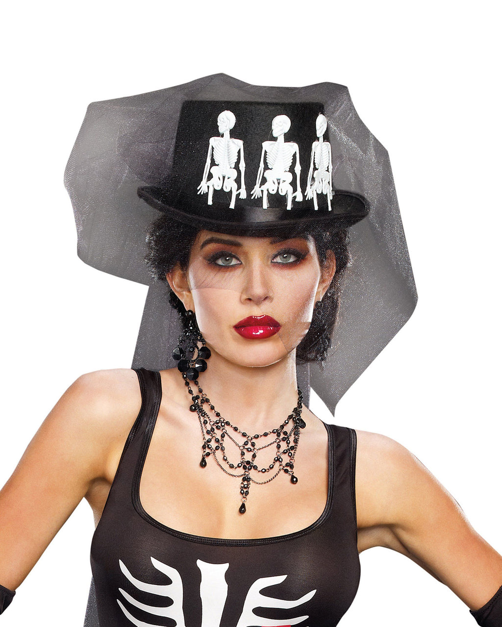 Ms. Bones Hat Headpiece Dreamgirl Costume