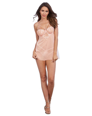 Opalescent Mesh and Embroidered Lace Chemise Chemise Dreamgirl International