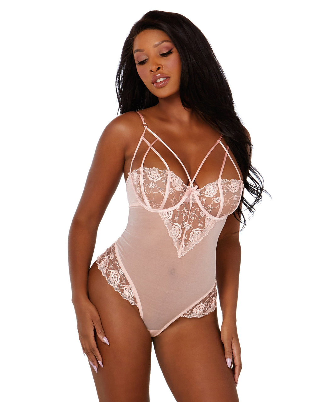 Opalescent Mesh and Embroidered Lace Teddy Teddy Dreamgirl International
