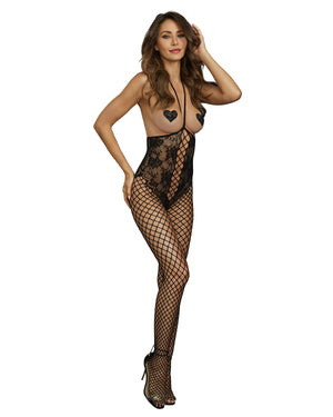 Open-Cup Halter Bodystocking Bodystocking Dreamgirl International One Size Black