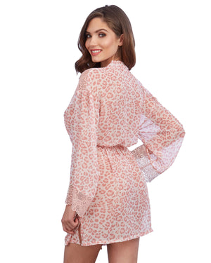 Pink Leopard Print Chiffon Robe with Set-In Belt Robe Dreamgirl International