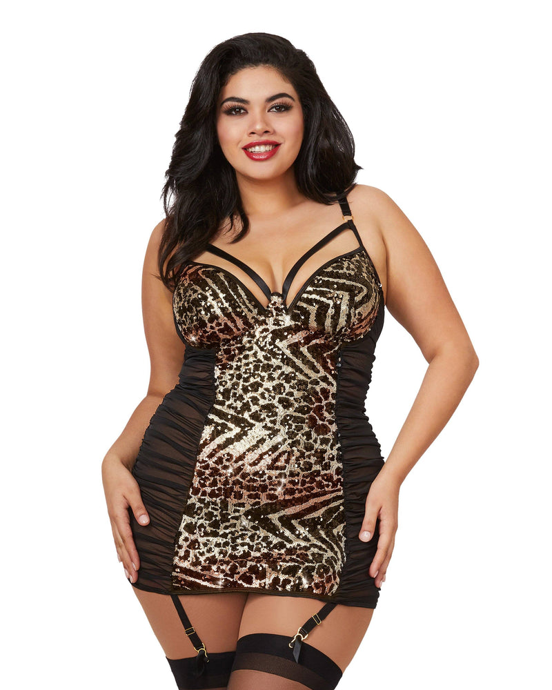 Plus Size Abstract Animal Print Garter Slip With Ruched Sides Garter Slip Dreamgirl International