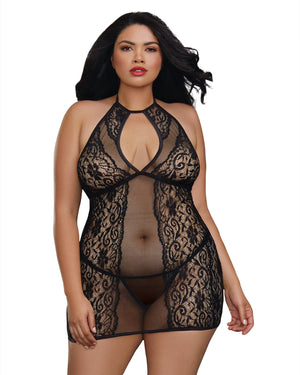 Plus Size Baby Fishnet and Lace Halter Chemise with G-String Chemise Dreamgirl International