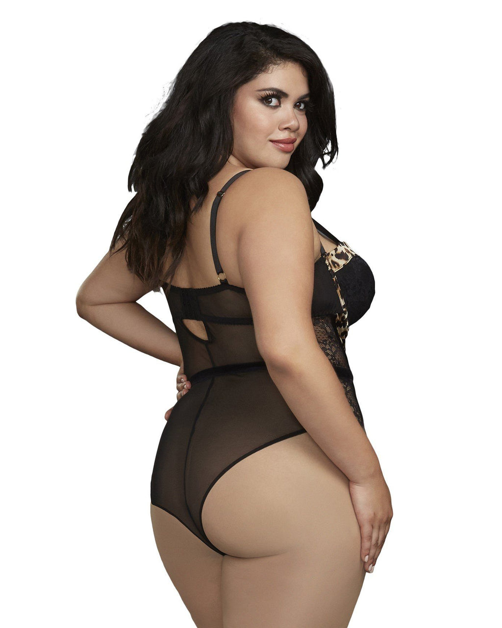 Plus Size Cheetah Print Stretch Lace and Mesh Teddy Teddy Dreamgirl International