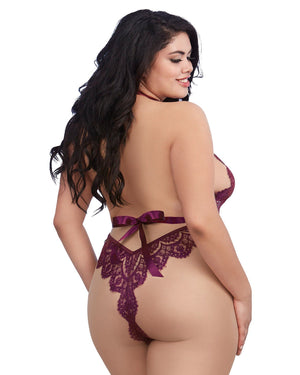 Plus Size Eyelash Lace Teddy with Halter Neckline and Thong Back Teddy Dreamgirl International