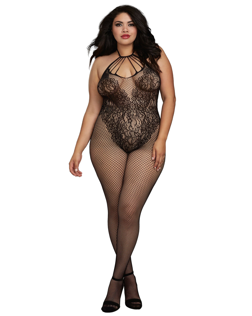 "Plus Size Fishnet Bodystocking with Knitted ""Teddy"" Design Bodystocking Dreamgirl International"
