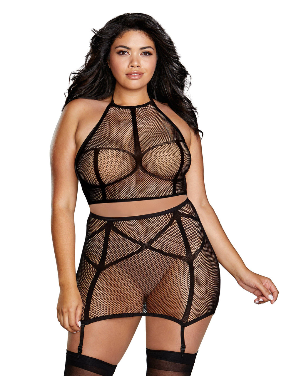 Plus Size Fishnet Bralette & High-Waister Garter Skirt Set Bralette Set Dreamgirl International