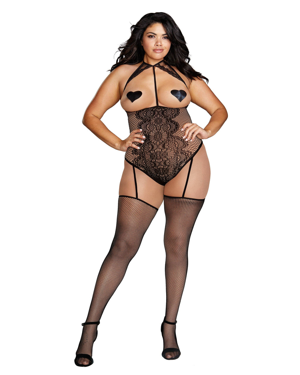 Plus Size Fishnet & Lace Open-Cup Teddy Bodystocking Bodystocking Dreamgirl International