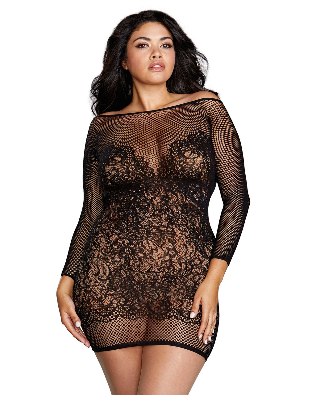 Plus Size Fishnet & Lace Versatile Long-Sleeved Chemise Chemise Dreamgirl International