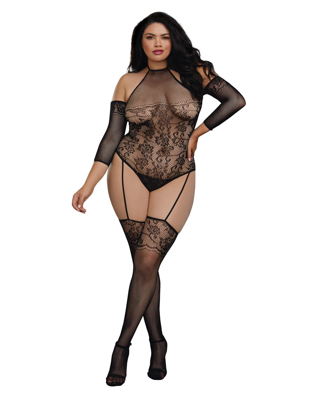 Plus Size Fishnet Teddy Bodystocking with 3/4 Length Sleeves Bodystocking Dreamgirl International