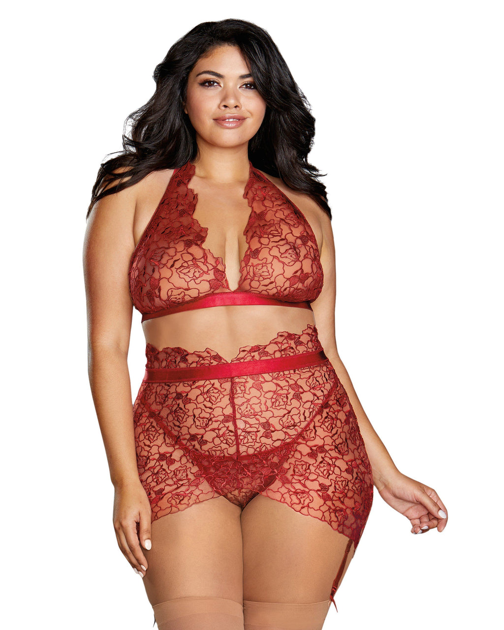 Plus Size Floral Embroidery Bralette & Garter Skirt Bralette Set Dreamgirl International