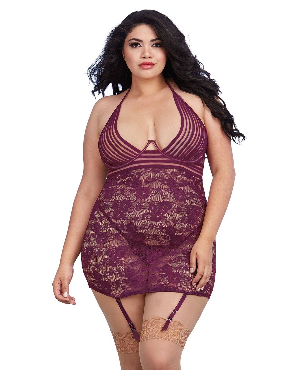 Plus Size Garter Slip with Sheer Stripped Elastic Details Garter Slip Dreamgirl International