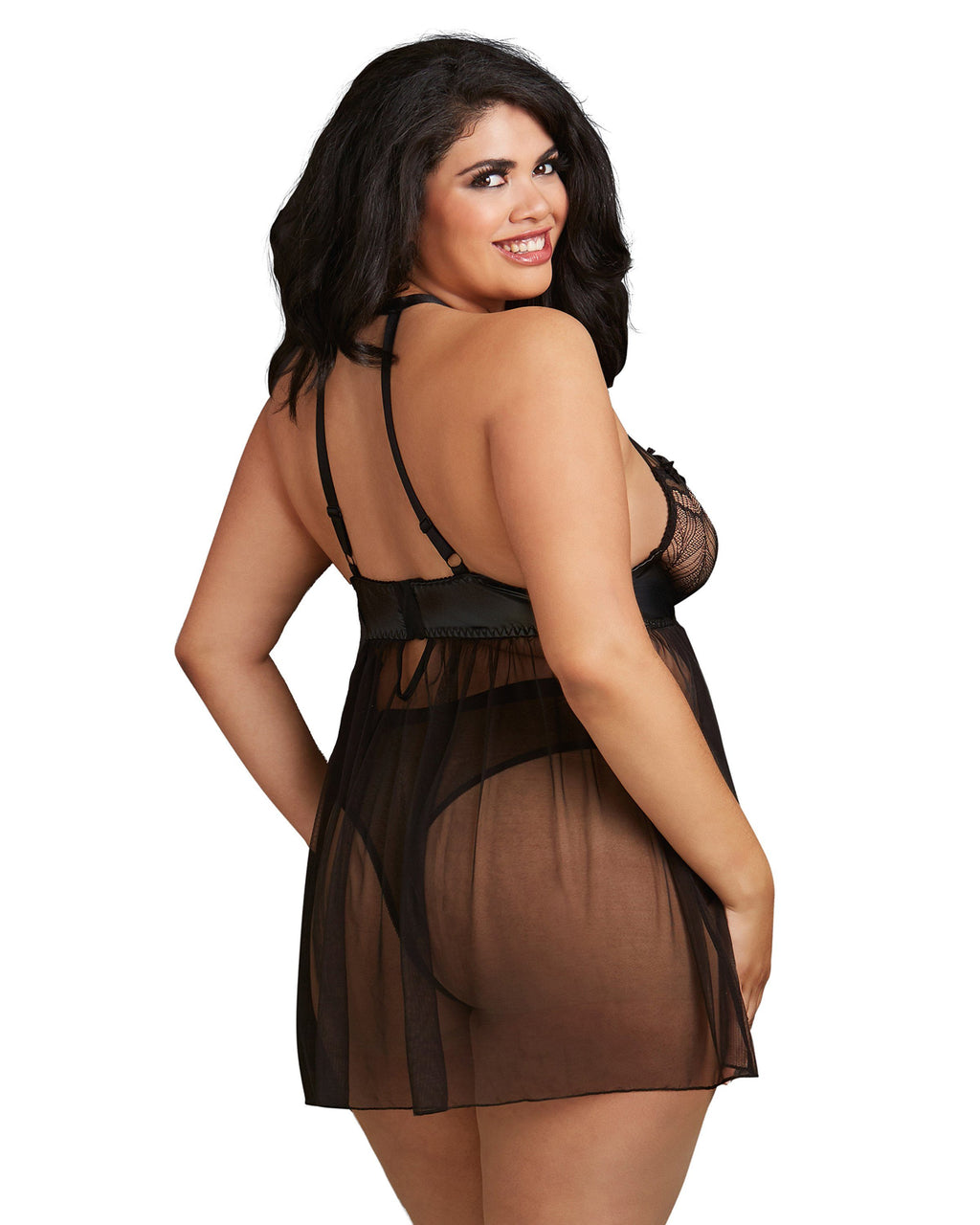 Plus Size High Neck Halter Flyaway Front Babydoll Babydoll Dreamgirl International