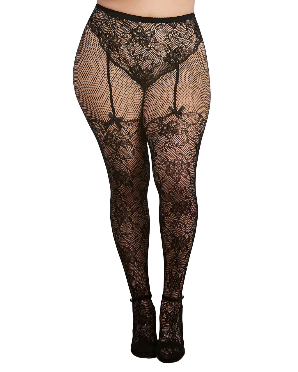 Plus Size Lace and Fishnet Pantyhose with High-Waisted Panty Design Pantyhose Dreamgirl International