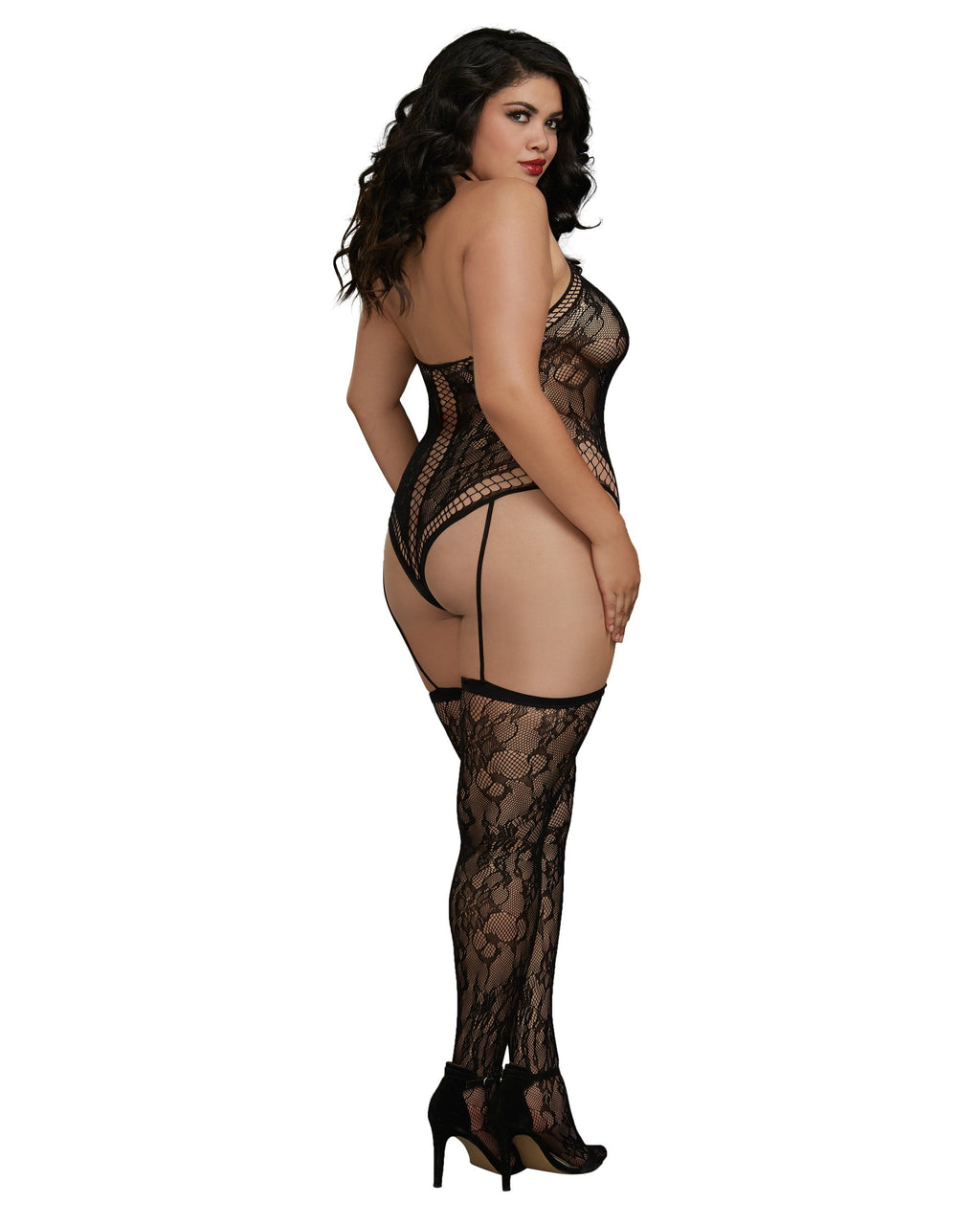 Plus Size Lace Teddy Bodystocking with Thigh High Stockings Bodystocking Dreamgirl International