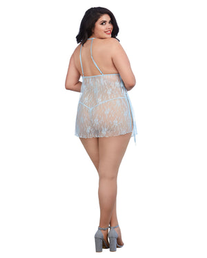 Plus Size Lace Toga Chemise and Matching G-String Set Chemise Dreamgirl International