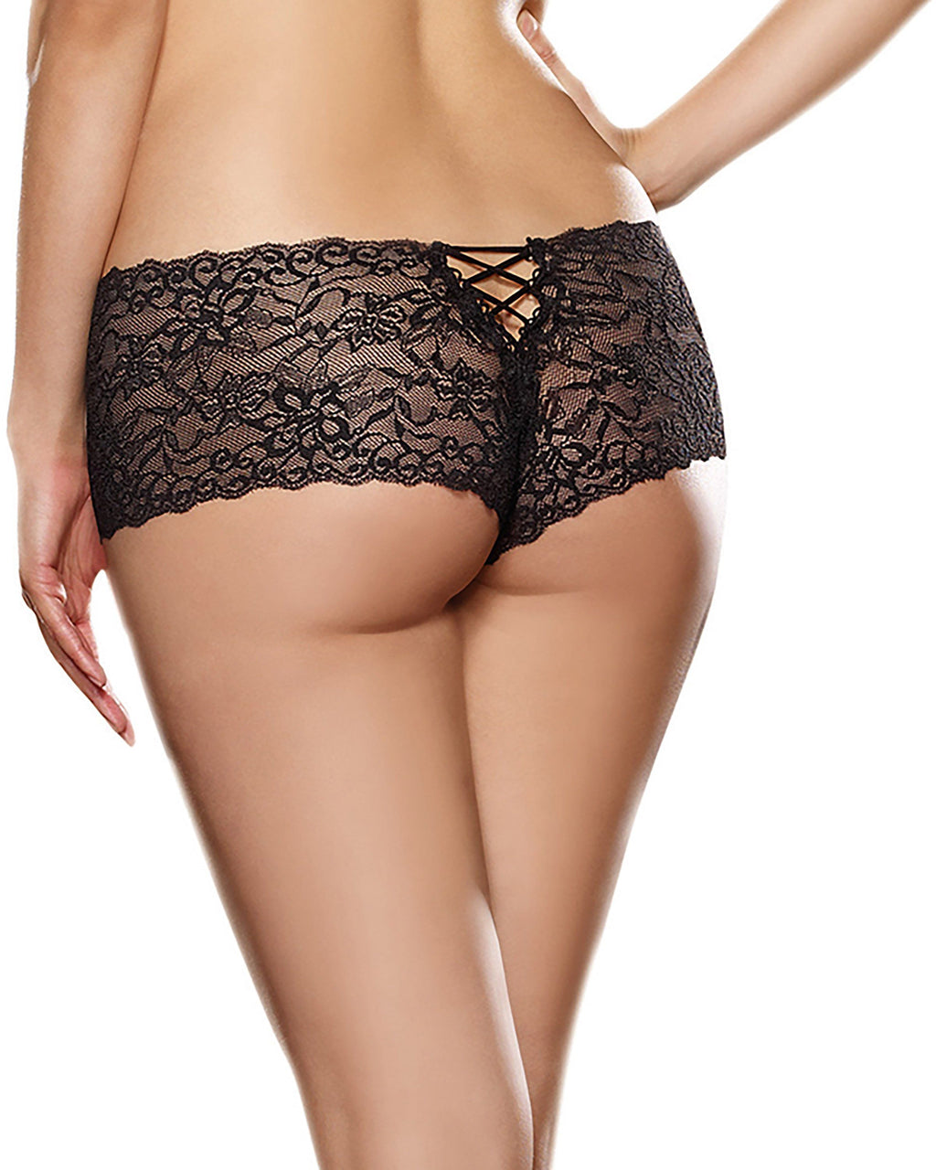 Plus Size Lace-Up Back Crotchless Boyshorts Panty Dreamgirl International