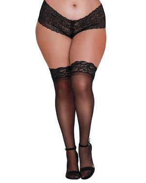 Plus Size Laced Stay-up Sheer Thigh High Thigh Highs Dreamgirl International One Size Queen Black