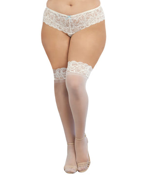 Plus Size Laced Stay-up Sheer Thigh High Thigh Highs Dreamgirl International One Size Queen White