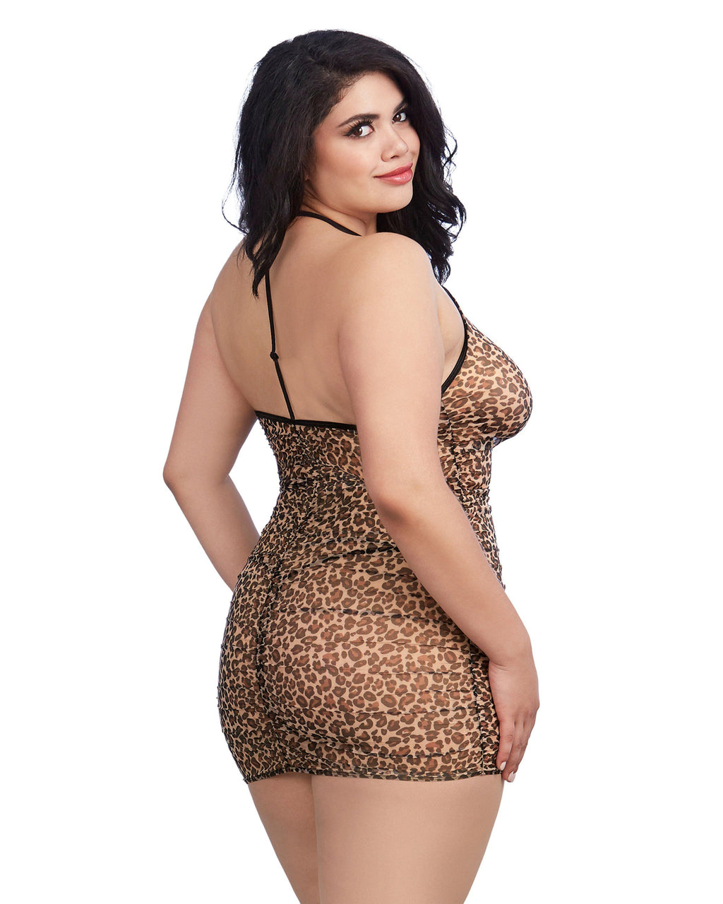 Plus Size Leopard Printed Chemise with Shirring Details Chemise Dreamgirl International