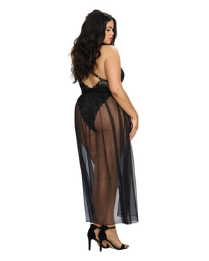 Plus Size Mosaic Lace Teddy & Sheer Skirt Teddy Dreamgirl International