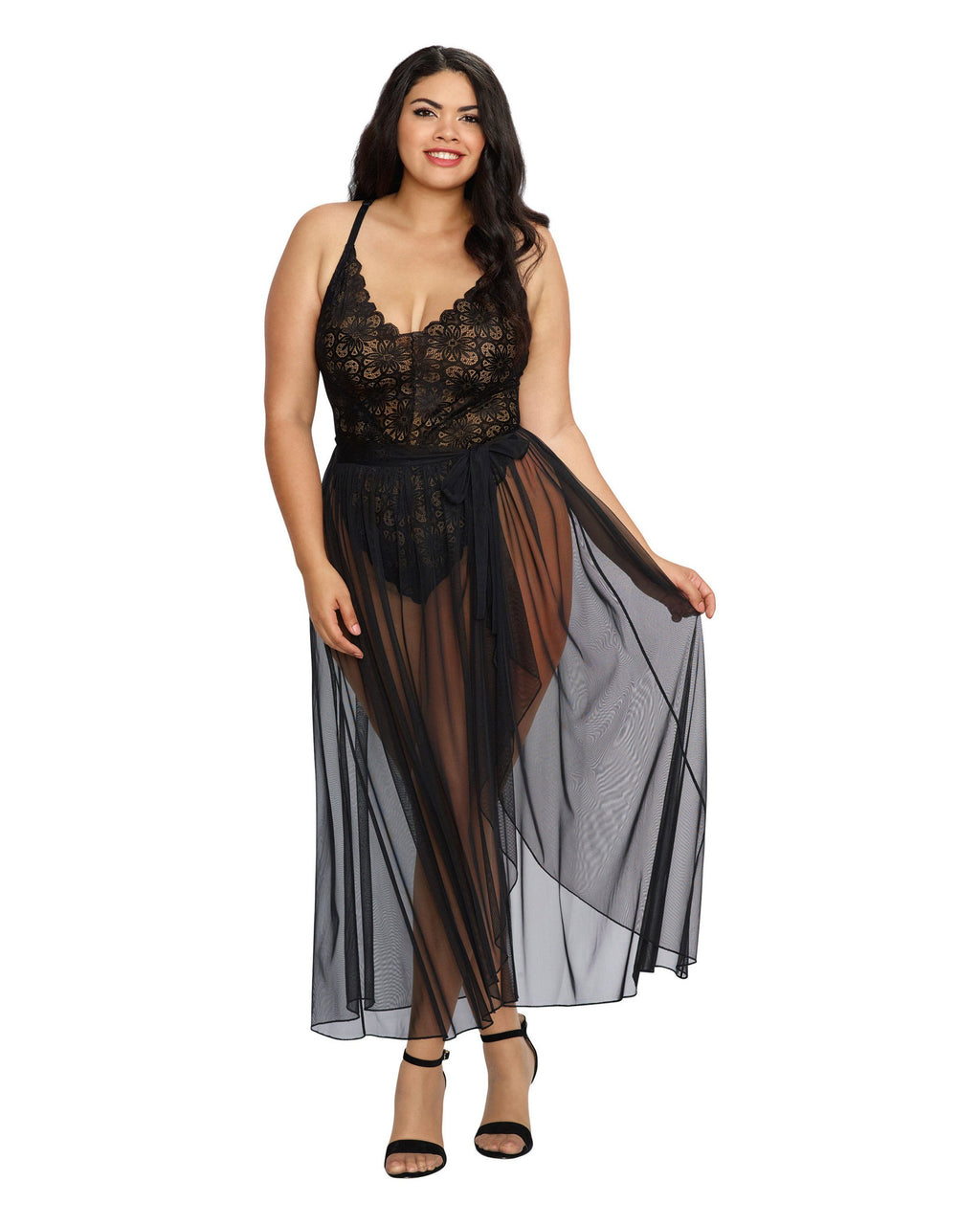 Plus Size Mosaic Lace Teddy & Sheer Skirt Teddy Dreamgirl International 1X Black