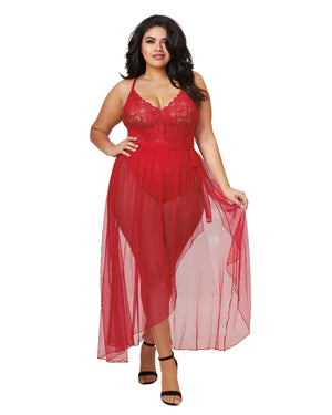 Plus Size Mosaic Lace Teddy & Sheer Skirt Teddy Dreamgirl International 1X Rouge