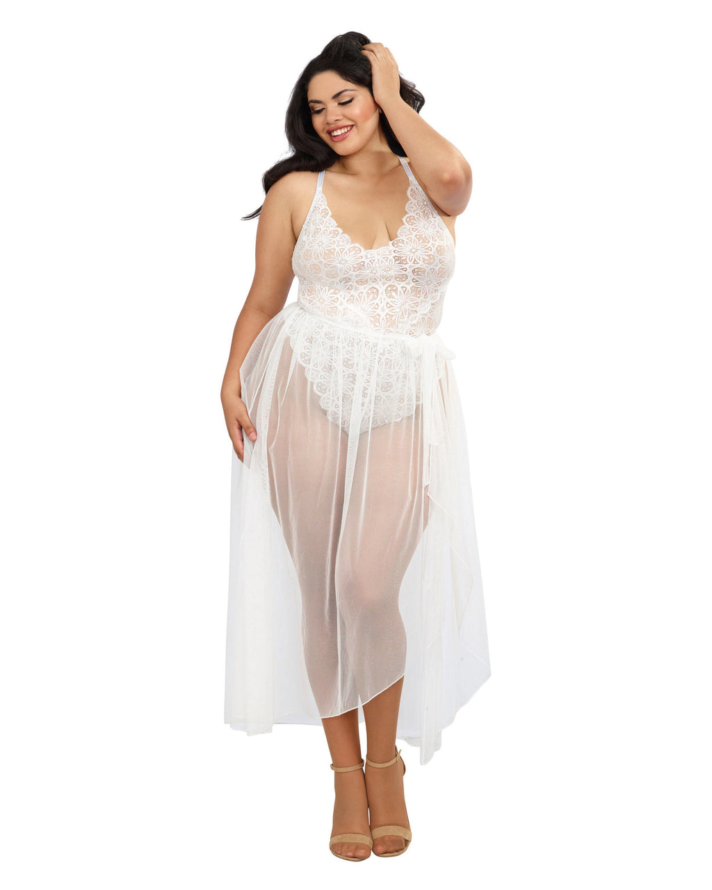 Plus Size Mosaic Lace Teddy & Sheer Skirt Teddy Dreamgirl International 1X White