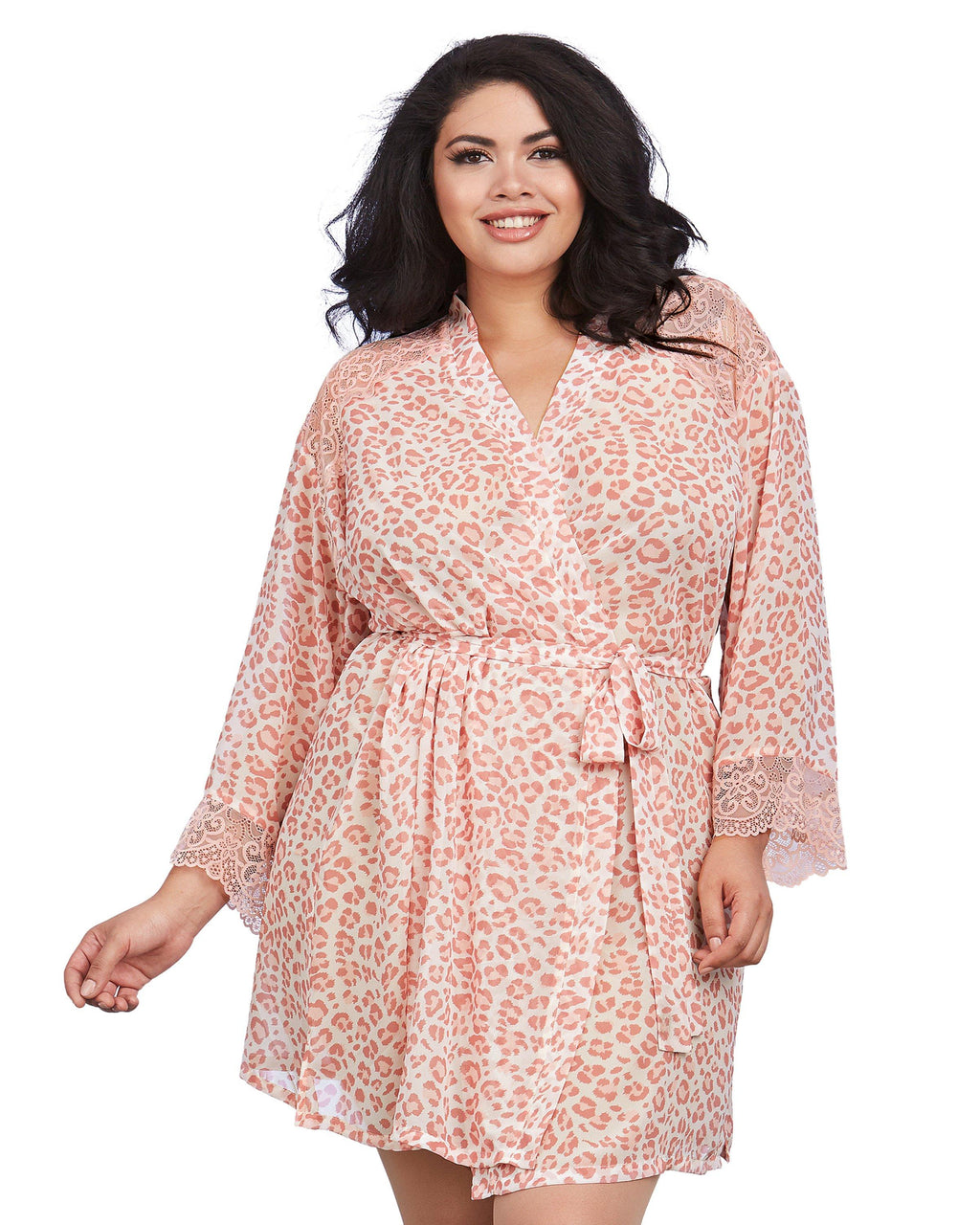 Plus Size Pink Leopard Print Chiffon Robe with Set-In Belt Robe Dreamgirl International