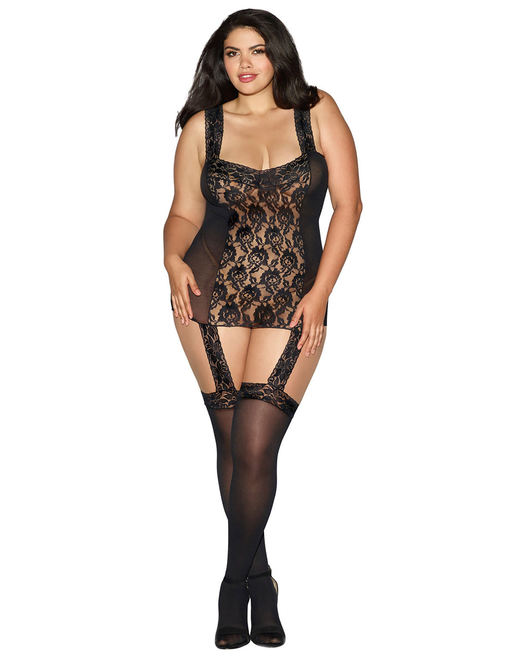 Plus Size Rose Lace Gartered Bodystocking Garter Dress Dreamgirl International