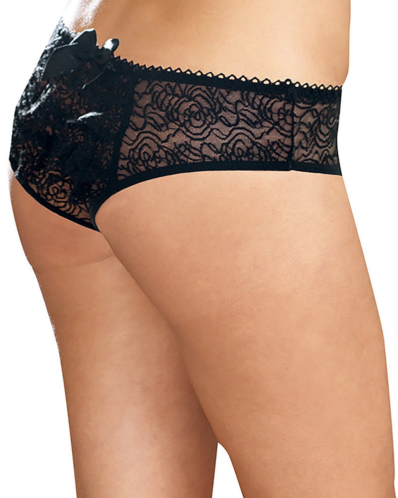Plus Size Ruffle Back Crotchless Panty Panty Dreamgirl International 1X/2X Black