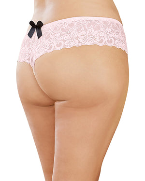 Plus Size Satin Bow Crotchless Boyshort Panty Dreamgirl International