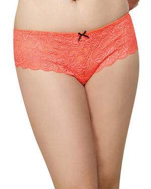 Plus Size Satin Bow Crotchless Boyshort Panty Dreamgirl International 1X/2X Coral