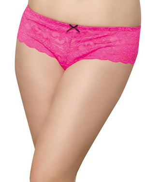 Plus Size Satin Bow Crotchless Boyshort Panty Dreamgirl International 1X/2X Hot Pink