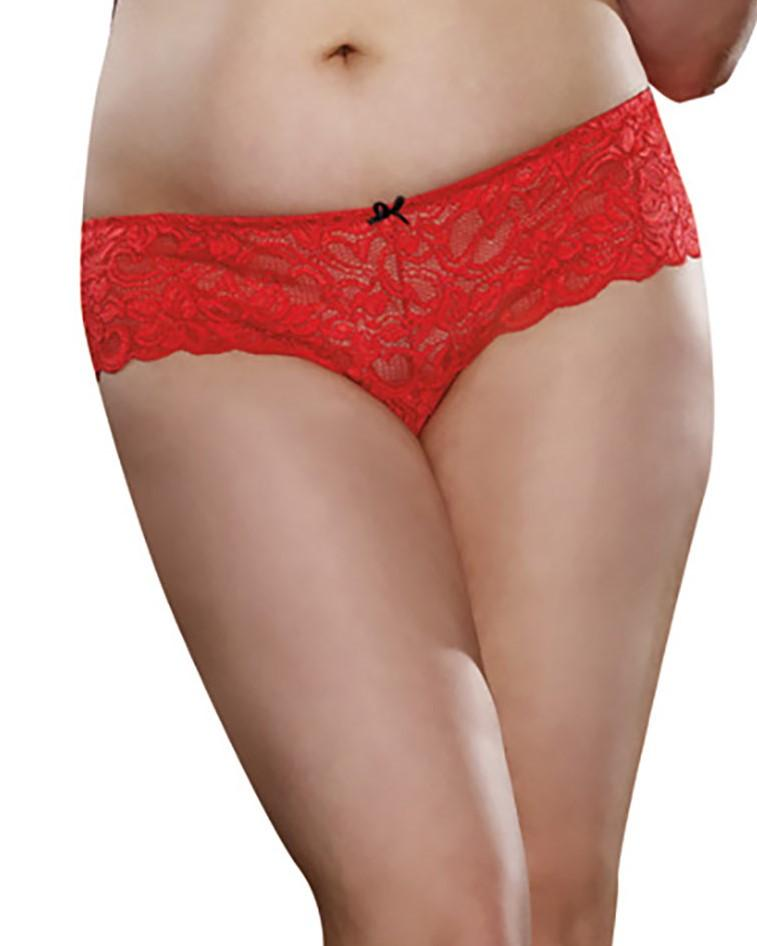 Plus Size Satin Bow Crotchless Boyshort Panty Dreamgirl International 1X/2X Ruby
