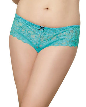 Plus Size Satin Bow Crotchless Boyshort Panty Dreamgirl International 1X/2X Turquoise