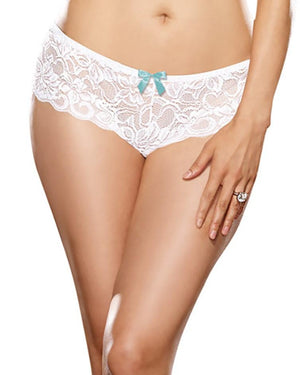 Plus Size Satin Bow Crotchless Boyshort Panty Dreamgirl International 1X/2X White