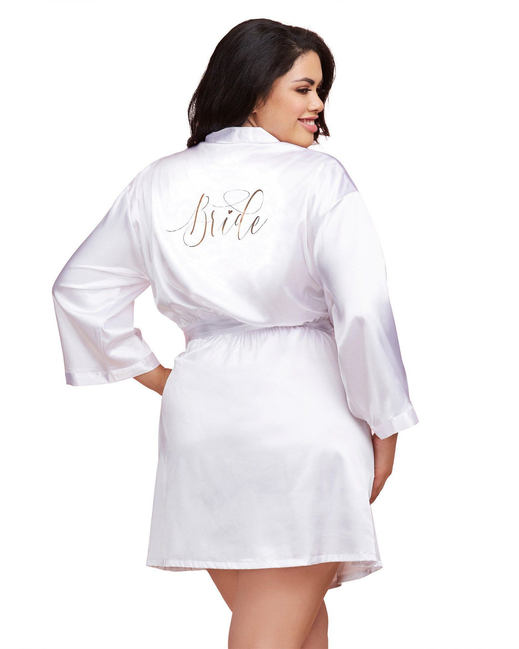 Plus Size Satin Charmeuse Bride Robe with Front Tie Belt Robe Dreamgirl International